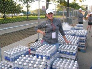 Setting up Team Hydration Station at the Chicago Marathon